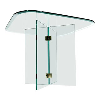 Pace Collection Glass Panel and Brass Square Side Table by Leon Rosen For Sale