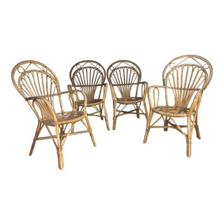 Late 20th Century Woven/Rattan Armchairs - Set of 4 For Sale
