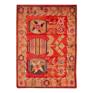 Early 20th Century Antique Samarkand Khotan Rug 5 X 6 For Sale