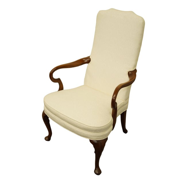 """HICKORY CHAIR Solid Mahogany Queen Anne Style Upholstered Dining Arm Chair 43"""" High 26"""" Wide 28.5"""" Deep Seat: 19"""" High..."""