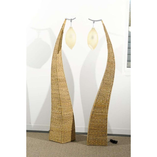 Fantastic Pair of Giant Raffia Floor Lamps For Sale - Image 10 of 10