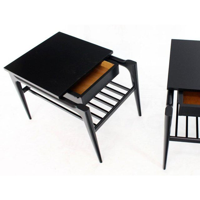 Pair of Black Ebonised One Drawer End Nightstands With Magazine Rack Sculptural For Sale - Image 12 of 13