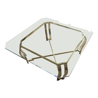 1980s Traditional Bevelled Glass & Brass Coffee Table For Sale