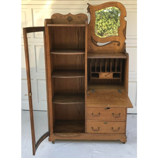 Vintage Wooden Vanity With Storage and Secretary Desk For Sale - Image 4 of 13
