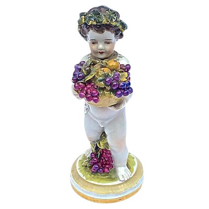Meissen Antique Porcelain Cherub Figurine For Sale