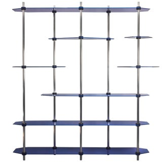 Tall Hex Shelving in Metallic Blue Glaze. Modular Aluminium Bookshelf. For Sale