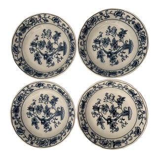 Vintage Blue & White Double Phoenix Ming Tree Dessert / Fruit Bowls S-4 For Sale