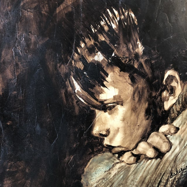 Expressionism Original Vintage Young Boy Portrait Painting For Sale - Image 3 of 8