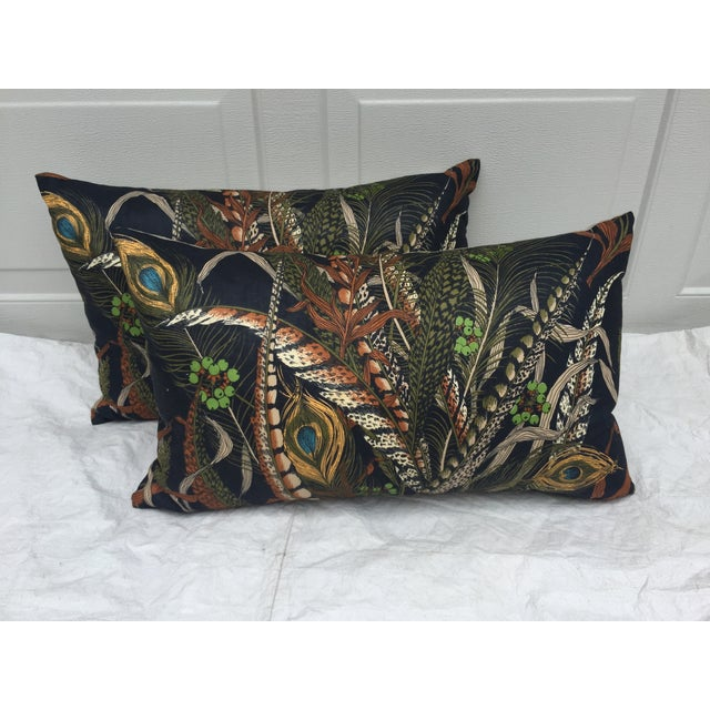 A pair of pillows made with vintage peacock feather textile from a French flea market. New linen backs and zipper closures...