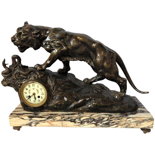 French Zinc Tiger Challenging a Rattlesnake on Marble Base Mantle Clock Signed For Sale
