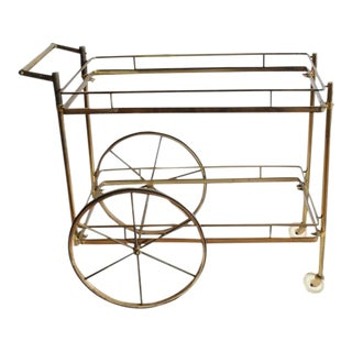 1950's Vintage Italian Brass Bar Cart For Sale