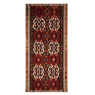 Vintage Mid-Century Malatya Red and Off-White Wool Kilim Rug-6′ × 12′9″ For Sale