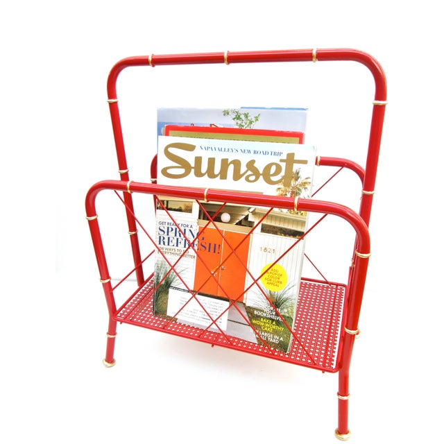 Vintage Red & Gold Faux Bamboo Magazine Rack For Sale - Image 5 of 6