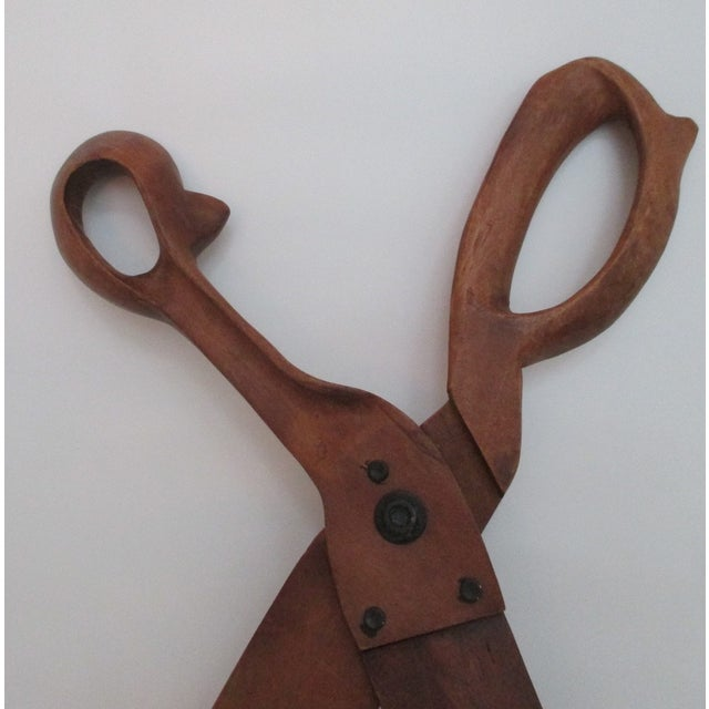 Folk Art Wooden Pair of Scissors Oversized - Image 3 of 5
