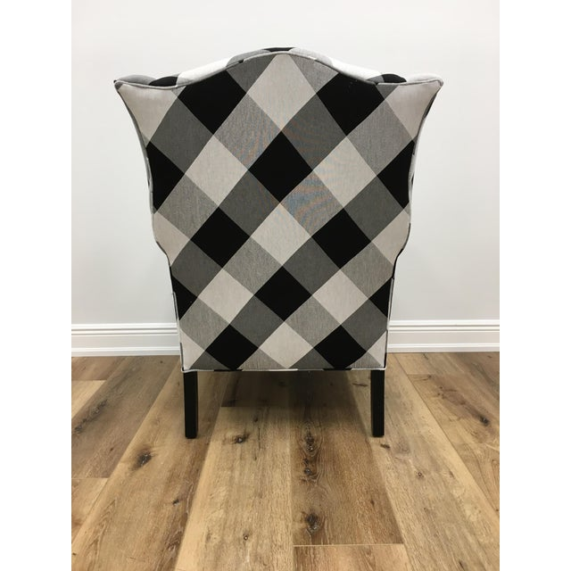 Black and White Check Bradford Armchair For Sale - Image 4 of 5