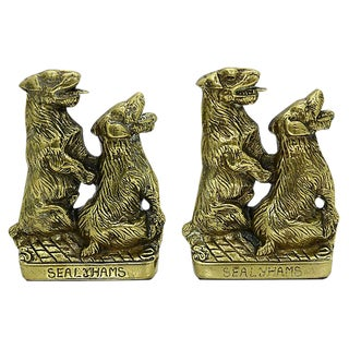 Vintage Brass Sealyham Terrier Bookends - a Pair For Sale