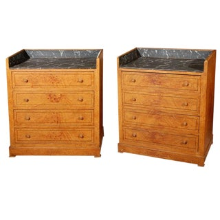 Late 19th Century Pair of Swedish Faux Marble-Top Chests of Drawers For Sale