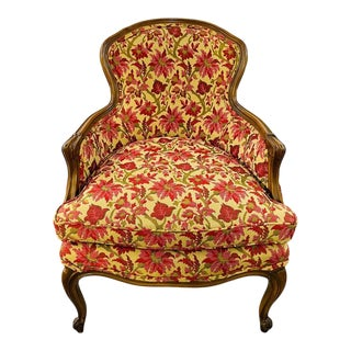 19th Century French Louis XV Bergere Arm Chair in a Fine Floral Upholstery For Sale