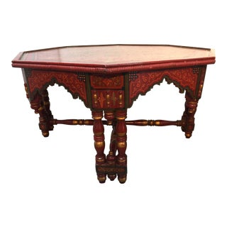 Hand-Crafted Hand-Painted Red Octagonal Moroccan Coffee Table For Sale