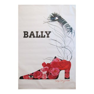 1965 Original Vintage French Poster, Bally Shoes (Flowers) by Roger Bezombes