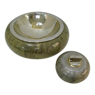 Rare Set of Aldo Tura Jade Green Goat Skin & Brass Bowl & Matching Lighter c.1950
