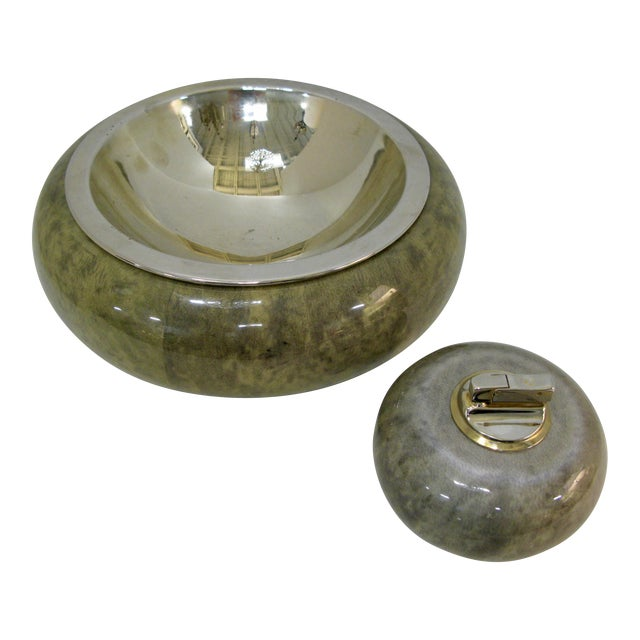 Rare Set of Aldo Tura Jade Green Goat Skin & Brass Bowl & Matching Lighter c.1950 For Sale