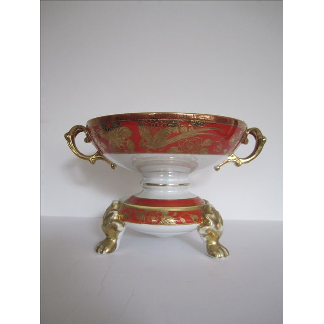 Vintage White, Orange and Gold Tazza with Paw Feet - Image 3 of 11