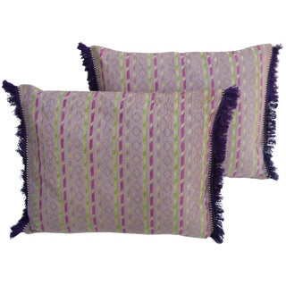 Diamonds & Stripes Moroccan Pillows, S/2 For Sale