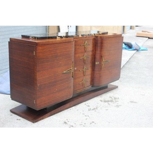 Classic French Art Deco Palisander Sideboard / Buffet Marble Top Circa 1940s - Image 3 of 10