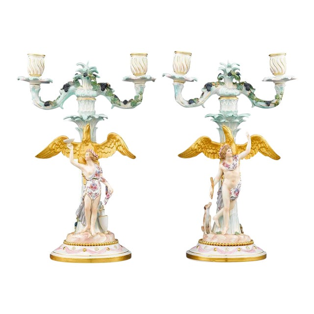 Meissen Two-Light Candelabra - A Pair For Sale