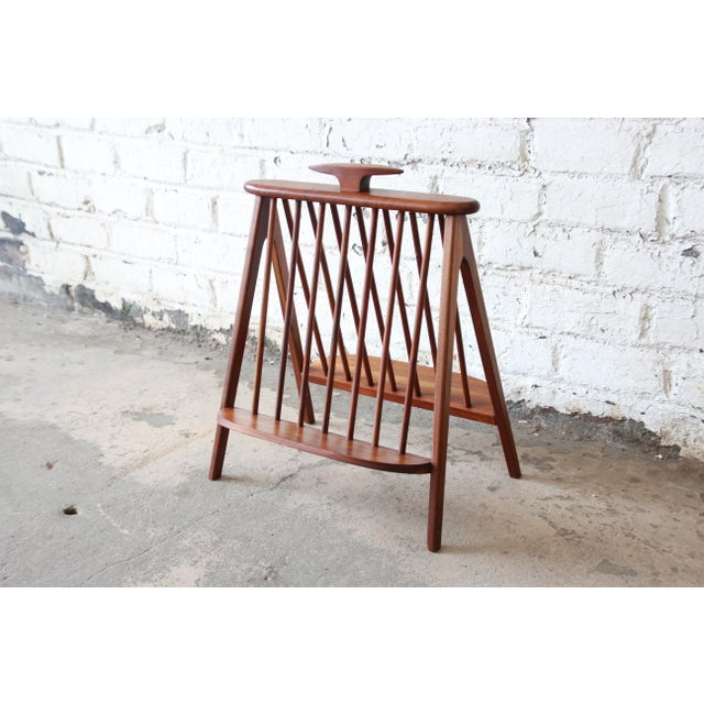 Brown Arthur Umanoff Sculpted Walnut Mid-Century Record Holder or Magazine Rack For Sale - Image 8 of 8