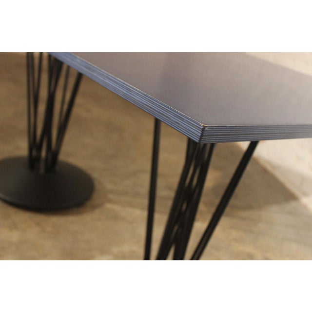 Really cool Marquette double pedestal table by Leland International. The blue plywood table top is gracefully suspended by...