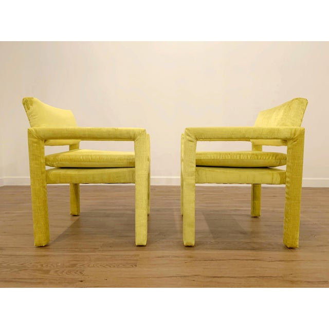 Mid-Century Modern Velvet Milo Baughman for Thayer Coggin Parsons Chairs - a Pair For Sale - Image 3 of 6
