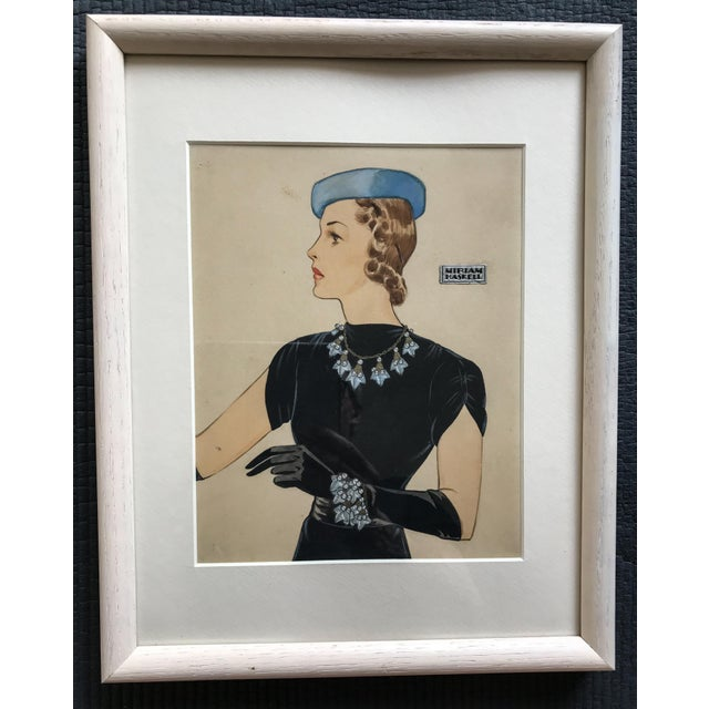 Figurative 1940s Gouache Painting for Miriam Haskell Jewelry by Frank Hess, Framed For Sale - Image 3 of 3