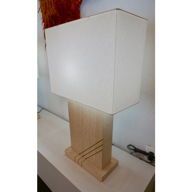 1980s Postmodern Travertine Table Lamps - a Pair For Sale - Image 4 of 8