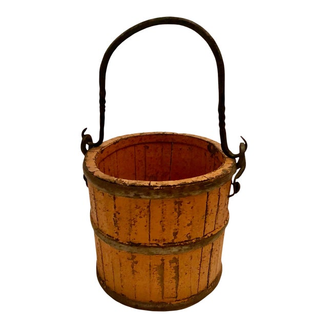 19th Century French Wood and Iron Pail For Sale