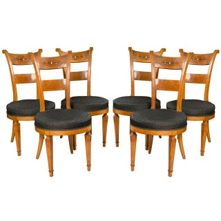 Set Six Biedermeier Style Side Chairs Dining Chairs With Ebony Inlay Can Buy One