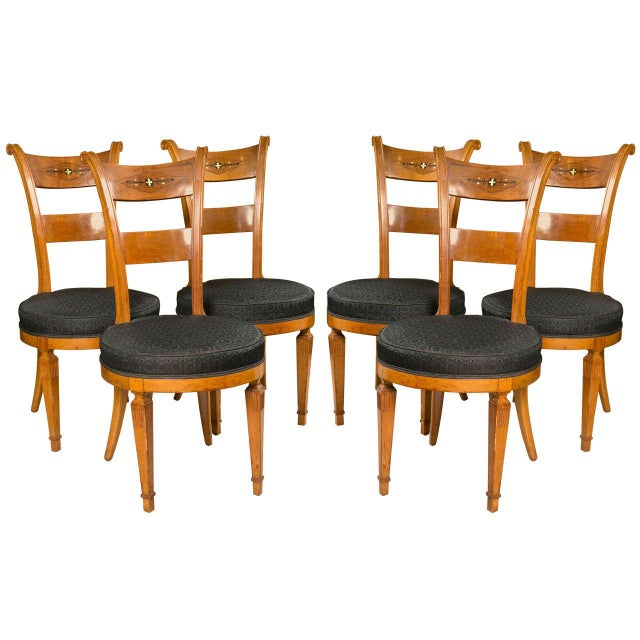 Set Six Biedermeier Style Side Chairs Dining Chairs With Ebony Inlay Can Buy One - Image 1 of 9