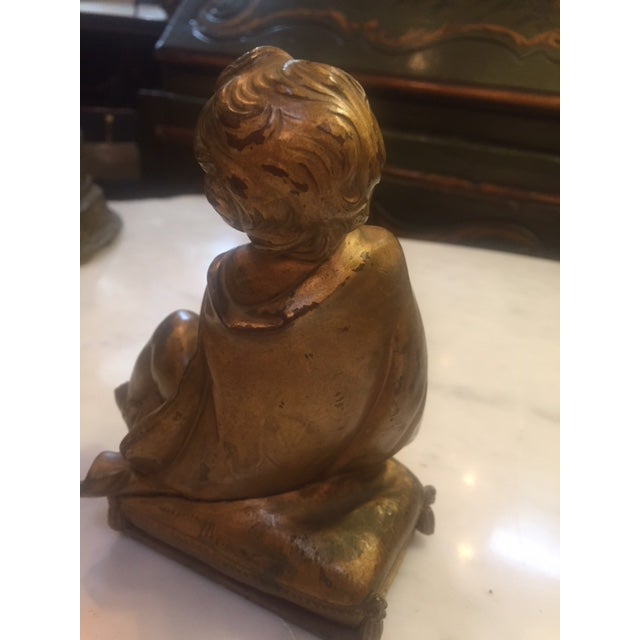 Pair of Gold Bronze Statue For Sale - Image 4 of 9