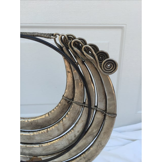 Vintage Tribal Metal Necklace on Stand - Image 5 of 7