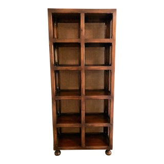 English Traditional Cane and Antiqued Wood Tall Bookshelf For Sale