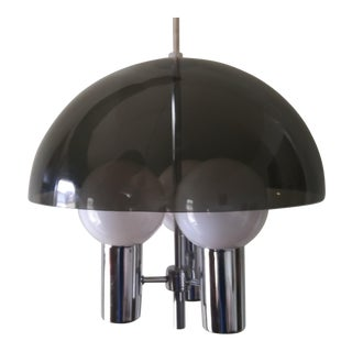 1960s Space Age Smoked Lucite & Chrome Mushroom Pendant Light For Sale