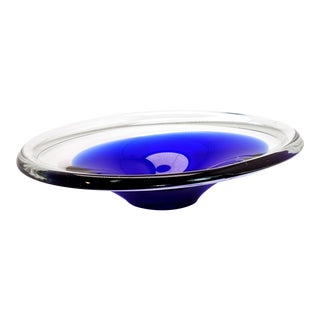 Mid-Century Flygsfors Sweden Cobalt Blue Dish For Sale