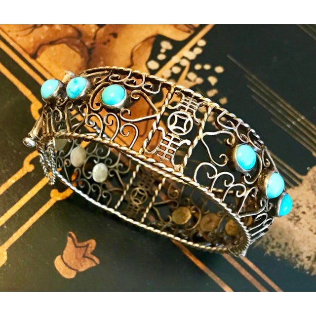 1940s 1940 Chinese Gold, Sterling and Turquoise Bangle For Sale - Image 5 of 8