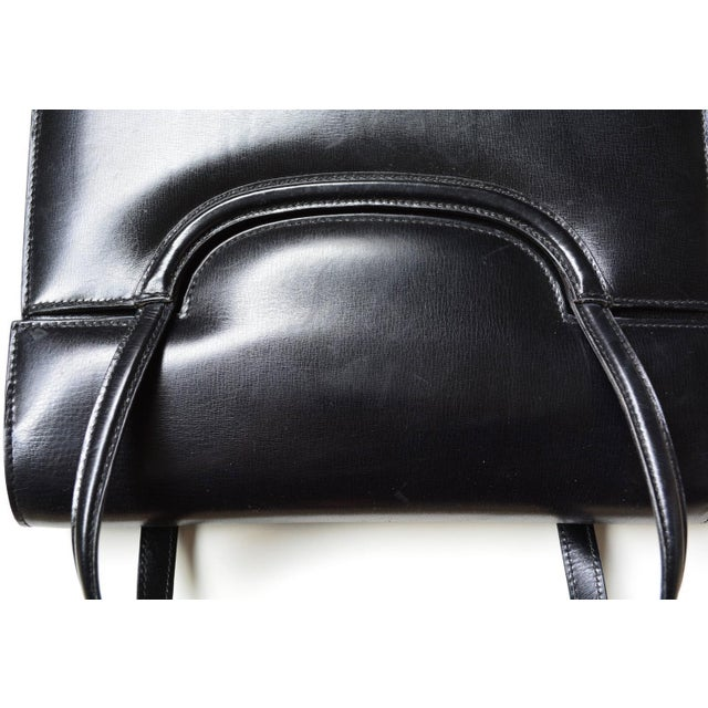 Gucci 1960s Gucci Black Leather Bag For Sale - Image 4 of 6