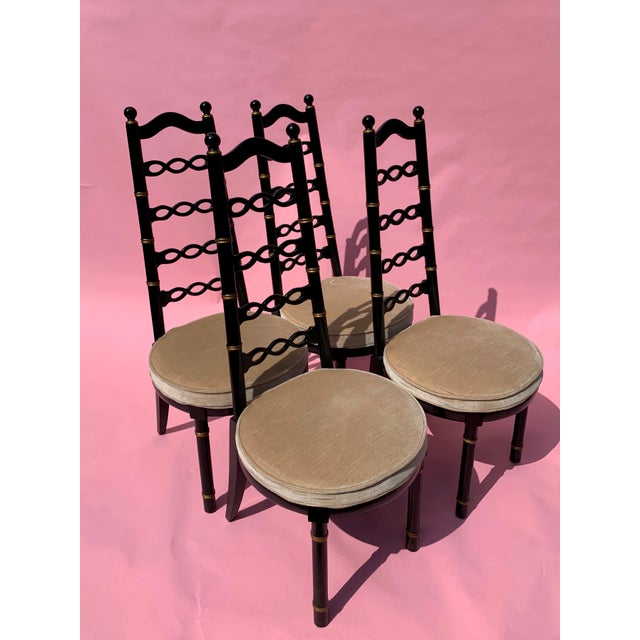 1960s Hollywood Regency Dining Chairs - Set of 4 For Sale - Image 5 of 5