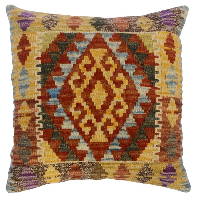 """Christop Gold/Lt. Blue Hand-Woven Kilim Throw Pillow(18""""x18"""") For Sale"""