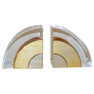 1970 Italian Brass Nickel Lucite Bookends - a Pair Preview
