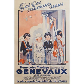 1920s French Art Deco Poster, Genevaux Wedding Attire