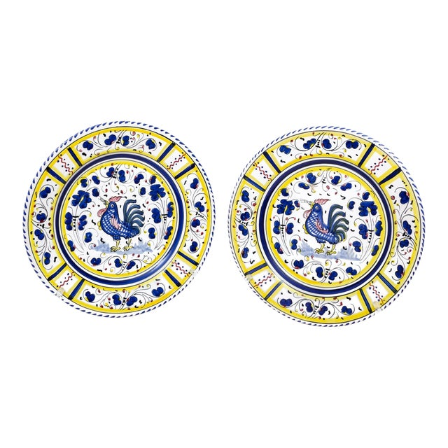 Vintage Hand-Painted Deruta Maiolica Rooster Plates - a Pair For Sale